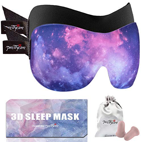 PrettyCare 3D Sleep Mask (Ultra Purple and Black) Eye Mask for Sleeping - Contoured Face Mask Silk - Blindfold with Ear Plugs,Travel Pouch - Best Night Eyeshade for Men Women Kids