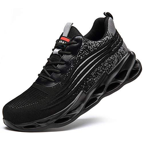 [マンディー] 安全靴 あんぜん靴 作業靴 スニーカー レディース メンズ 鋼先芯(JIS H級相当) おしゃれ 軽量 通気 ワークマン シューズ 滑り止め 耐摩耗 セーフティーシューズ 798/グレー/46