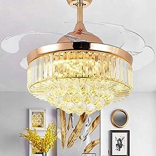 GXEXG luz Lámparas para sala de estar, Ventilador de cristal invisible LED de la lámpara de Inicio Salón Dormitorio de frecuencia variable Ventilador de techo Lámparas de luz de iluminación con contro