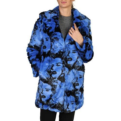 Guess Pia Graphic - Cappotto da Donna in Finta Pelliccia - Blu - S