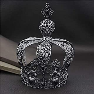 Stylish and Elegant Crown Princess Tiara Crown Crystal Party Crown Big Hair Bands Performance Hair Accessories Birthday Senior Royal Treasures wsd (Couleur du métal : Black)