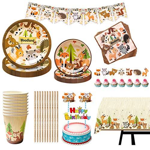 Amycute Suministros para Fiesta de Cumpleaños de Animales, Cubiertos de Animal Vajilla de Cumpleaños Baby Shower Cupcake Toppers, Platos, Vasos, Servilleta (8 Invitados)