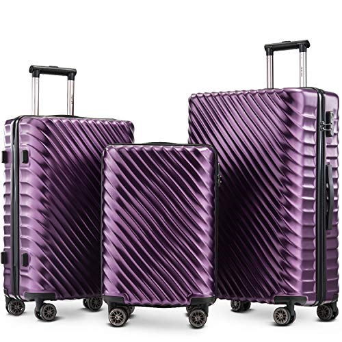 Merax Luggage Set 3 Pieces- Hard Shell Suitcases Cabin Hand Travel Wheels ABS+PC Case with Lock (Purple)