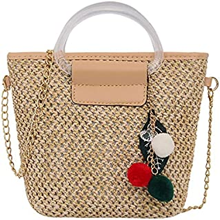 TOOGOO Straw Shoulder Bag Women Hand-Woven Messenger Bag Summer Beach Straw Handbag for Lady White