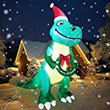 TURNMEON 10 Ft Tall Christmas Inflatables Dinosaur Outdoor Decoration, Lighted Blow up Santa Dino Holds Merry Xmas Wreath with Tether Stakes LED Lights Xmas Decor Holiday Yard Lawn Garden Home Party