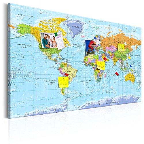 murando Mappa del Mondo per Il Fissaggio puntine & Quadro su Tela 120x80 cm 1 Parte Pannello di Fibre Quadro Decorativo su Tela Lavagna per Le Note Viaggio Geografia k-A-0094-v-a