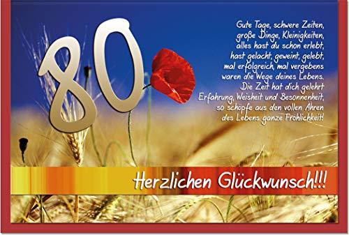 metALUm Karte zum 80. Geburtstag MOHNFELD | 1018007S