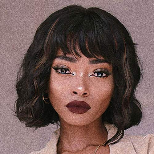 AISI HAIR Short Curly Bob Wigs with Bangs Black Mix and Brown Synthetic Wavy Wave Bob Wig Natural Looking Heat Resistant Fiber Wigs for Women (Black Mix and Brown)