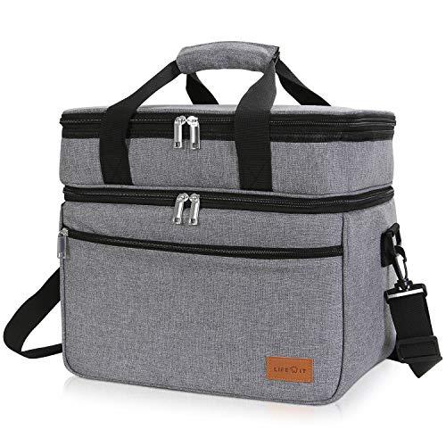 Lifewit 23L Kühltasche Gross Lunchtasche Isoliert mit Abnehm- und Verstellbarer Schulterriemen für Aufbewahrung von Wärme und Kälte, Multifunktional Picknicktasche,Grau