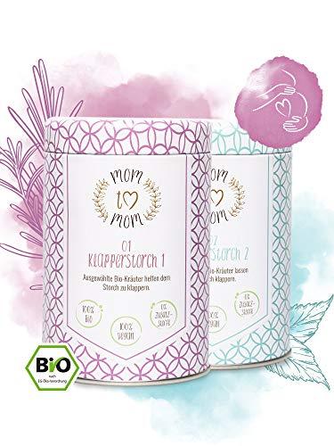 Mom to Mom® Klapperstorchtee 1 & 2 (Zyklustee 1 und 2) Frauenmanteltee Bio-Zertifiziert - Schwangerschaftstee - Himbeerblättertee Schwangerschaft - 2x 40g loser Biotee