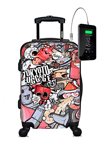 New TOKYOTO Kids Girl Luggage Carry-On 20-Inch with Spinner Wheels Powerbank Trolley Cool Design (PARTY ROBOTS, TROLLEY + CHARGER)