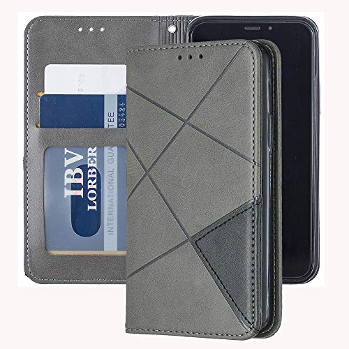 Capa carteira XYX para Samsung Galaxy S10, [recurso de suporte][compartimentos para cartões] Capa protetora de couro sintético magnético oculto com estampa de losango (cinza)