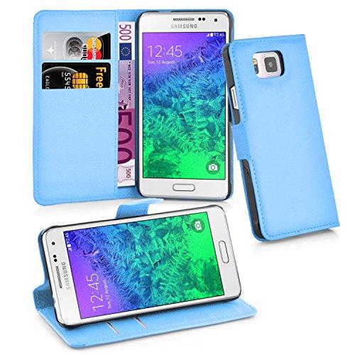 Cadorabo Hülle für Samsung Galaxy Alpha in Pastel BLAU - Handyhülle mit Magnetverschluss, Standfunktion & Kartenfach - Hülle Cover Schutzhülle Etui Tasche Book Klapp Style