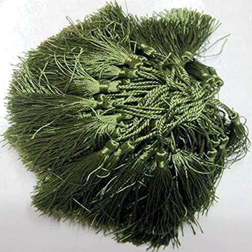 100 unids / Lote Alrededor de 12.5 cm Borla de poliéster Multicolor al por Mayor para decoración del hogar Cortinas de marcadores de Ajuste de Cortina 181051-Army Green