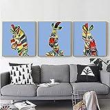 Color cebra dibujos animados lindo animal avatar arte póster impresión cuadro decorativo lienzo pintura para guardería niños habitación obra de arte sin marco / 30x30cmx3 sin marco