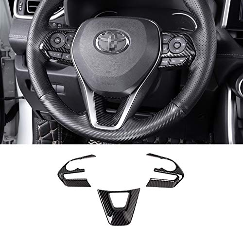 Tocatus Steering Wheel Cover Trim for Toyota Corolla RAV4 2019 2020 2021, ABS Carbon Fiber 3pcs