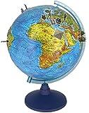 alldoro 68610 3D Lexi Globus Ø 32 cm mit Smartphone IQ Globe App, Leuchtglobus mit LED Lampe ohne Kabel, Kinderglobus mit Relief, Weltkarte geographisch & beleuchtet politisch, für Kinder ab 3 Jahre