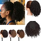 Short Afro Curly Ponytail Drawstring Ponytail Hair Extension Synthetic Jerry Curly Ponytail Clip in Hairpiece for Black Women (1B)