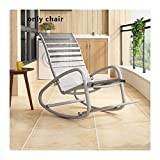 AquaBlue Balcon Rocking Chair Seat, chaises Lazy Rocking, Nordic Leisure Siesta Recliner Outdoor Easy Chair, Mobilier de Jardin Chaise métal (Color : Gray Not Adjustable)