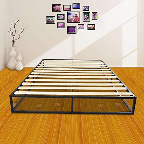 Metal Platforma Bed Frame/Mattress Foundation/Wood Slat Support/No Box Spring Needed/Sturdy Steel Structure, Queen, Weight Capacity: 250 kg 79.53' x 60.24' x 10' Black