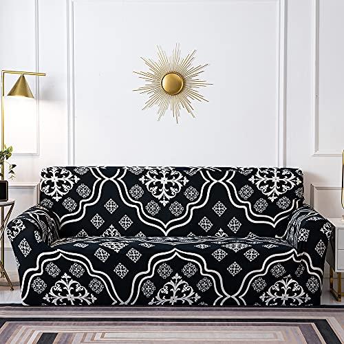 Meiju Fundas de Sofá Elasticas de 1 2 3 4 Plazas Universal Decorativas Funda Cubre Sofas Ajustables, Antideslizante Protector Cubierta de Muebles (Negro,4 plazas - 235-300cm)