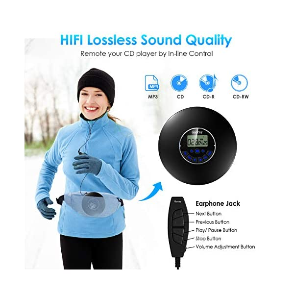 Portable CD Player Bluetooth Rechargeable CD Walkman 1400mAh Personal CD Discman 12 Hours Working Time Anti-Skip Protection LCD Display with AUX Cable for Car Children Audio Books