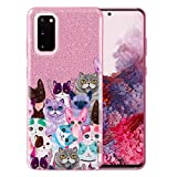 FINCIBO Case Compatible with Samsung Galaxy S20 6.2 inch 2020, Shiny Sparkling Pink Bling Glitter TPU Protector Cover Case for Galaxy S20 (NOT FIT S20+ Plus 6.7 inch) - Cat Family