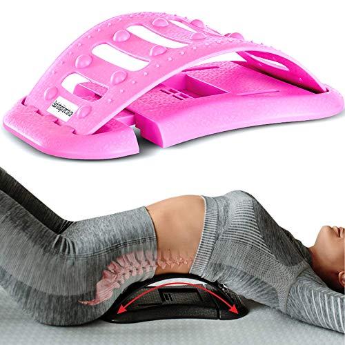 RSTJ-Sjap Lumbar Indoor Massage Corrector Lumbar Disc Lumbar Disc Herniation Retractor Stretch Spine Lumbar Support Cushion,Red