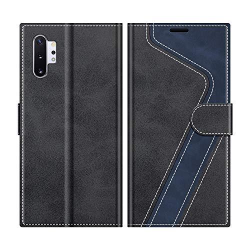 MOBESV Handyhülle für Samsung Galaxy Note 10 Plus Hülle Leder, Samsung Galaxy Note 10+ Klapphülle Handytasche Hülle für Samsung Galaxy Note 10 Plus Handy Hüllen, Modisch Schwarz