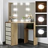 ML-Design Coiffeuse Moderne Sonoma 110x141,5x54 cm avec Éclairage LED, 3 Miroirs, 5 Tiroirs, 3 Étagères de Rangement, Bois MDF, Table de Maquillage de Toilette, Commode Cosmétique pour Chambre Salon