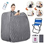 Anfan Portable Steam Sauna 2L Personal Home Sauna Spa for Weight Loss & Detox Relaxation w/Remote Control, Foldable Chair and Timer (Light Gray)