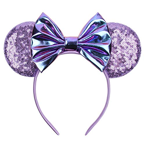 YanJie Metallic Purple Mermaid Hair Bows Minnie Mouse Ear Hairband for Girls Big Sequins Ears Chic DIY Kids Hair Accessories Headband