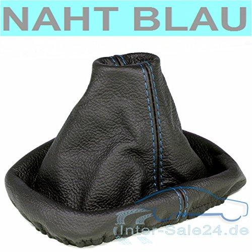 L & P Car Design L&P A0035 Schaltsack Schaltmanschette kompatibel mit VW Golf 4 IV 100% Echtleder Leder Schwarz Naht Blau