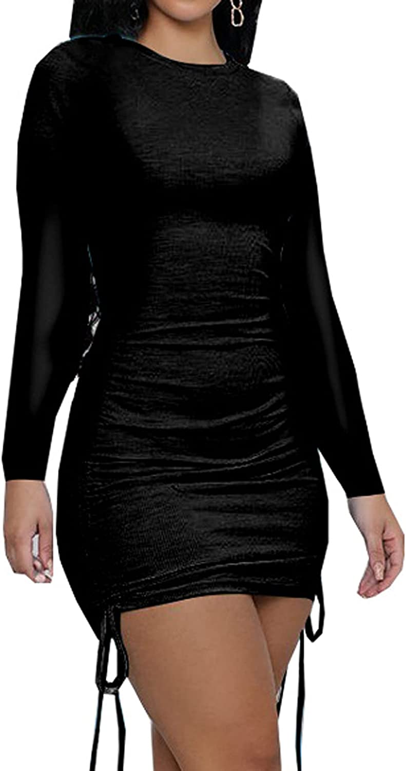 Lachmose Women Long Sleeve Bodycon Ruched Short Dress Side Drawstring Solid Crew Neck Casual Autumn Mini Dresses