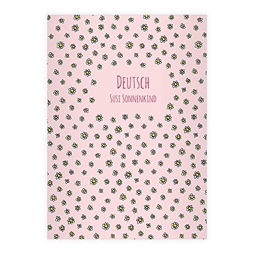 Kartenkaufrausch 2 personalisierte, Schöne DIN A4 Schulhefte, Schreibhefte mit Streu Gänseblümchen auf rosa Lineatur 25 (liniertes Heft)