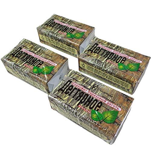 w-mtools® Birkenteer Seife Teer Seife 4 x 140g (Birkenteer) gegen Dermatitis Akne Birkenseife ANTI-EKZEM-SEIFE aus Russland Дегтярное