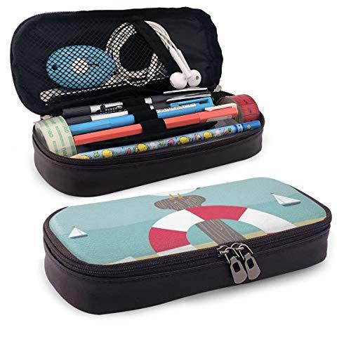 Schattig potlood CaseNautical Cartoon Ocean met zeilboten zeemeeuw zitten op een paal met boei perfecte houder voor potloden en pennen