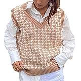 geagodelia maglione senza maniche donna gilet lavorato a maglia houndstooth scozzese autunnale e invernale scollo a v maglione smanicato elegante (cachi, m)