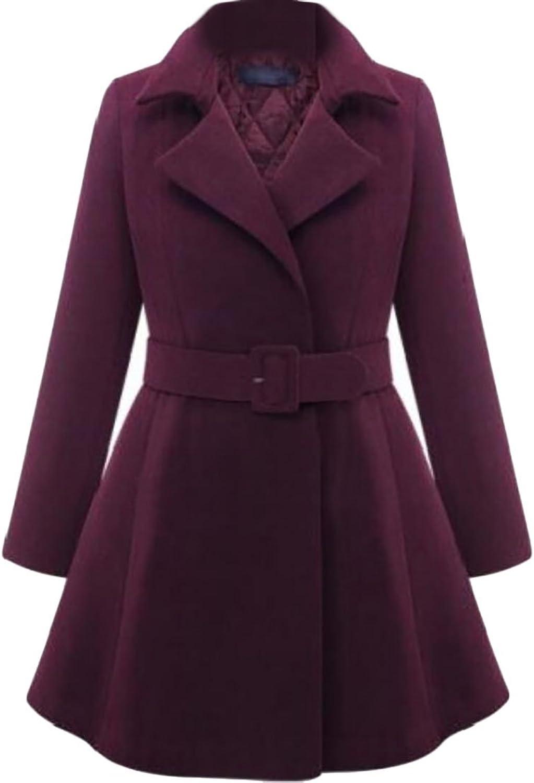 JXGWomen Long Sleeve Lapel Belted Solid Slim Fit Woolen Coat