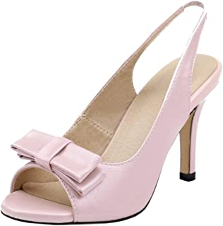 KemeKiss Women Sweet Slip on Slingback Sandals Party Dress Pumps Shoes with Bow