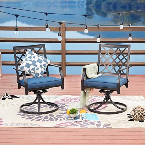 LOKATSE HOME Outdoor Patio Dinning Swivel Chairs Rocker Set of 2 Metal for Garden Backyard Furniture, Blue Cushions