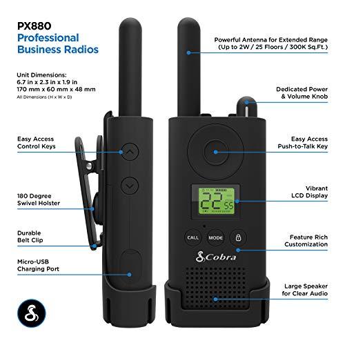 Cobra PX880 Walkie Talkies Pro Business Two-Way Radios (Pair)