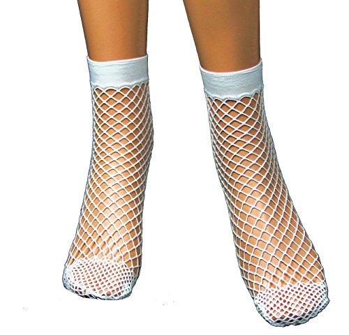 EROSPA® Damen-Grobnetz Socken Söckchen weiß kurz Fishnet Mesh Strümpfe Sneaker
