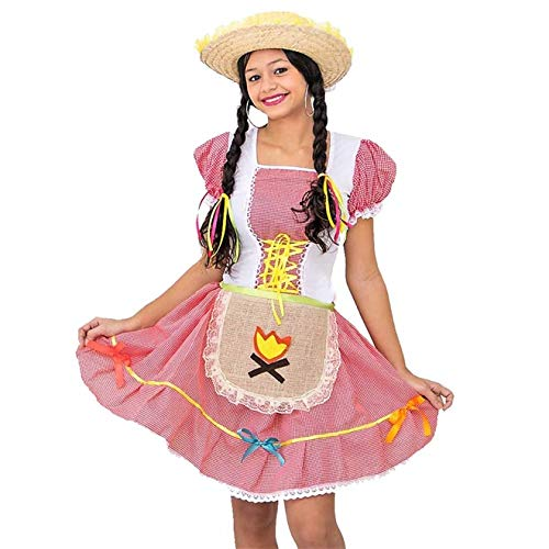 Fantasia de Festa Junina Infantil Vestido Caipira Com Avental G - 8