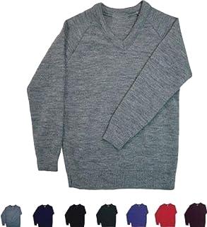 ND Sports Kid's School Uniform V-Neck Tank Top Knitted Full Sleeve Jumper, Medium, Grey