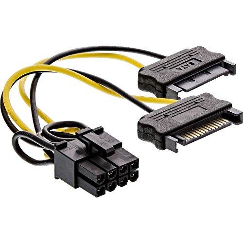 InLine 26628D Stromadapter intern, 2x SATA zu 8pol für PCIe (PCI-Express) Grafikkarten, 0,15m