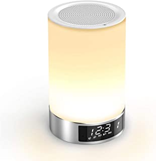 Touch Bedside Lamp with Bluetooth Speaker, Romantic Dimmable Color Night Light, Outdoor Table Lamp with Smart Touch Control, Best Gift for Men Women Teens Kids Children Sleeping Aid
