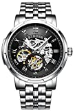 BINGER Skeleton Men's Watch Automatic Mechanical Stainless Steel Case (Steel Band Black Face)