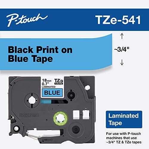 Brother TZe-541 P-touch Schriftband (18 mm, geeignet u.a. für Brother P-touch 1830VP, -D400/VP, -D450, -D600/VP, -P700, -2430, laminiert, 8 m lang) schwarz auf blau
