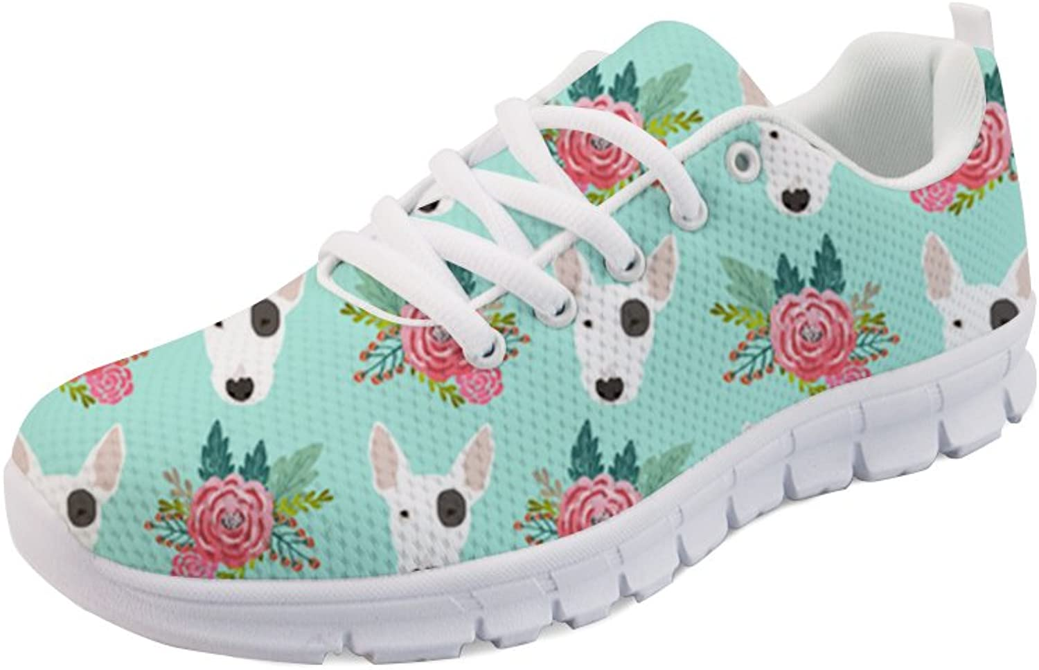 Doginthehole Bull Terrier Print Women Sneakers Lace up Mesh Sport Running shoes